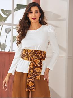 Casual Tribal Regular Fit Round Neck Long Sleeve Pullovers White Regular Length Puff Sleeve T-shirt With Tribal Belt with Belt