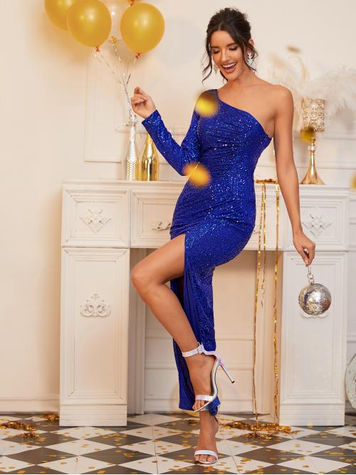 Glamorous and Sexy Bodycon Plain Slit Regular Fit One Shoulder Long Sleeve Regular Sleeve Natural Blue and Bright Maxi Length One Shoulder Split Thigh Sequin Dress with Lining
