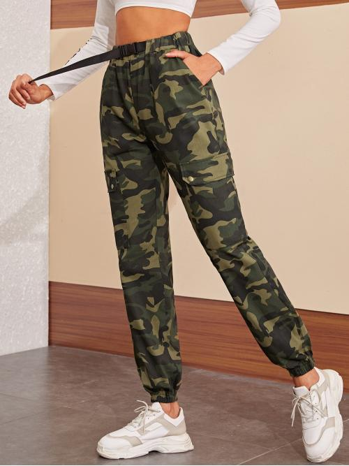 Casual Camo Cargo Pants Regular Mid Waist Multicolor Long Length Camo Print Pocket Side Belted Cargo Pants with Belt