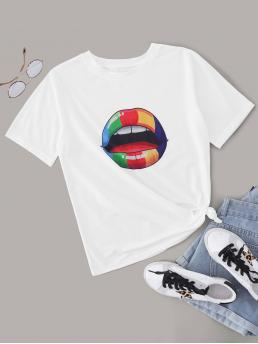 Casual Figure Regular Fit Round Neck Short Sleeve Regular Sleeve Pullovers White Regular Length Colorful Mouth Print Short Sleeve Tee