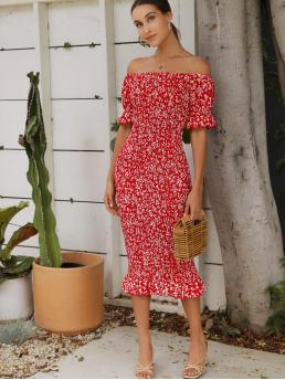 Boho Bodycon Ditsy Floral Mermaid Slim Fit Off the Shoulder Half Sleeve Flounce Sleeve Natural Red Long Length Off Shoulder Ruffle Trim Shirred Ditsy Floral Dress