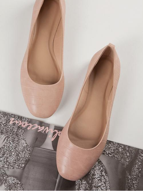 Dusty Pink Ballet Round Toe Pu Leather Faux Leather Slip-on Ballerina Flats Clearance