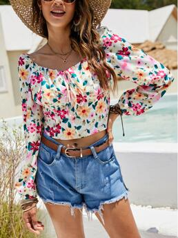 Long Sleeve Top Knot Polyester Allover Milkmaid Blouse Trending now