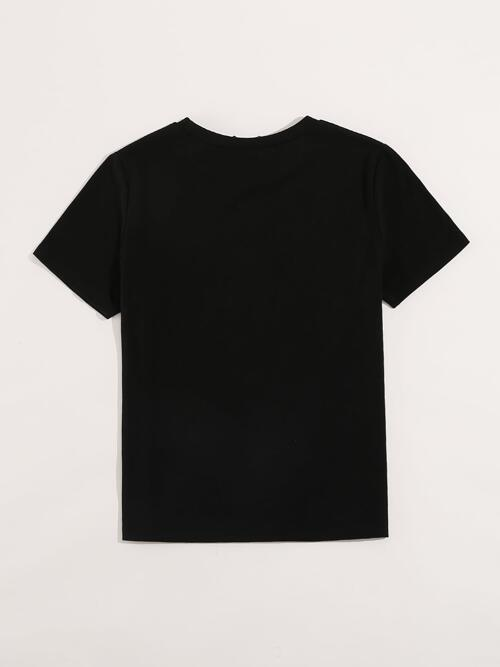 Discount Short Sleeve Cotton Graphic Black Motorcycle and Tee