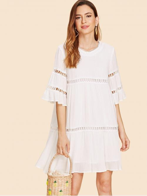 Boho Plain Oversized V Neck Half Sleeve Flounce Sleeve Natural White Short Length Bell Sleeve Circle Lace Detail Dress