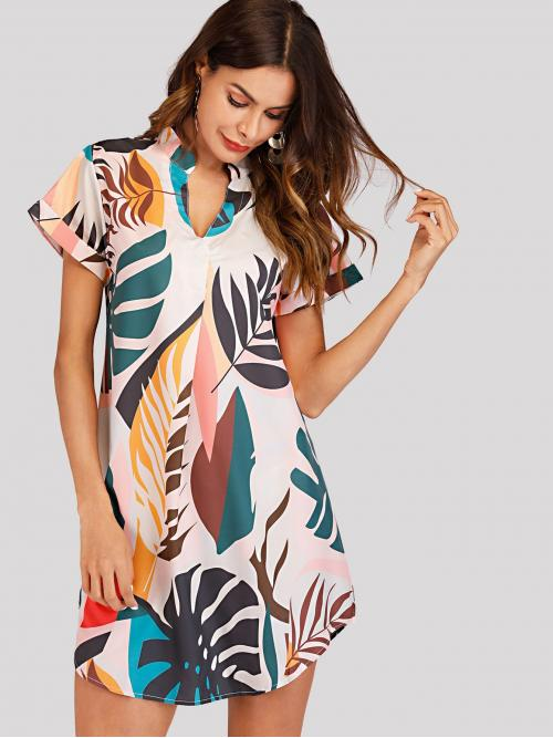 Multicolor Tropical Fringe V Neck V Cut Curved Hem Dress on Sale