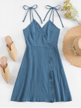 Casual Cami Plain Flared Regular Fit V neck and Spaghetti Strap Sleeveless Natural Blue Short Length Tied Shoulder Frilled Wrap Dress