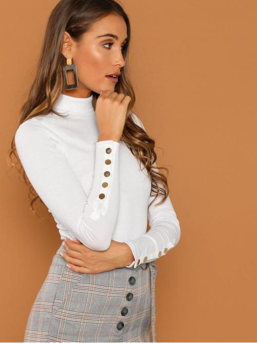 Affordable Long Sleeve Top Button Cotton Buttoned Cuff T-shirt
