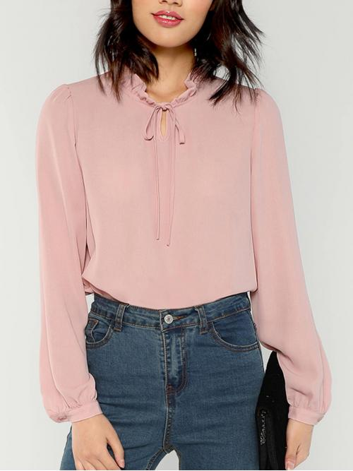 Long Sleeve Top Frill Polyester Tied Neck Top Fashion