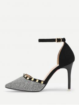 Elegant Point Toe Ankle Strap Grey High Heel Stiletto Rivet Detail Ankle Strap Glitter Heels