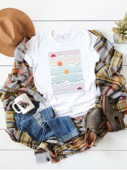 Casual Graphic Regular Fit Round Neck Short Sleeve Pullovers White Regular Length Sun Print Tee