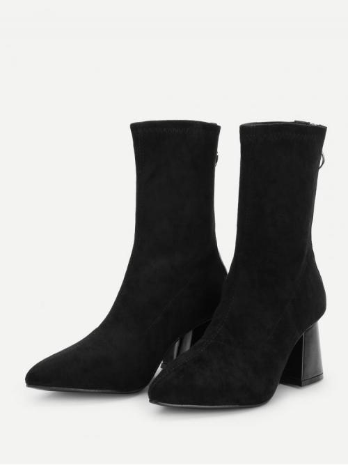 Corduroy Black Stretch Boots Embroidery Plain Boots Clearance
