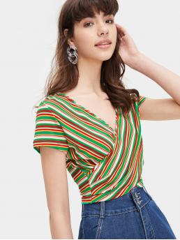 Casual Striped Slim Fit V neck Short Sleeve Pullovers Multicolor Crop Length Striped Surplice Front Crop Tee