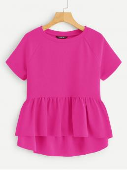 Cute Plain Flared Peplum Regular Fit Round Neck Short Sleeve Regular Sleeve Pullovers Pink and Bright Regular Length Solid Ruffle Layered Hem Top