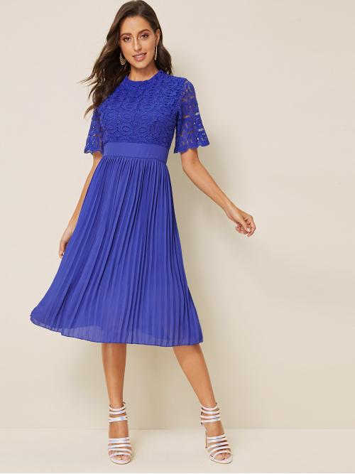 Elegant Fit and Flare Plain Pleated Regular Fit Round Neck Half Sleeve High Waist Blue Midi Length Contrast Lace Scallop Cuff Pleated Dress with Lining