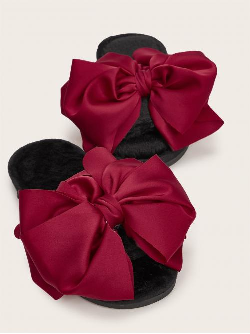 Fashion Rose Red Slides Bow Open Toe Decor Fuzzy Slippers