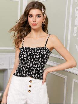 Casual Cami Ditsy Floral Slim Fit Spaghetti Strap Black Crop Length Ditsy Floral Shirred Cami Top