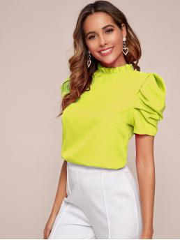Short Sleeve Top Frill Polyester Frilled Neck Top Beautiful