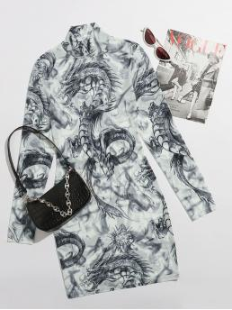 Affordable Black and White Animal Sheer High Neck Chinese Dragon Mesh Dress