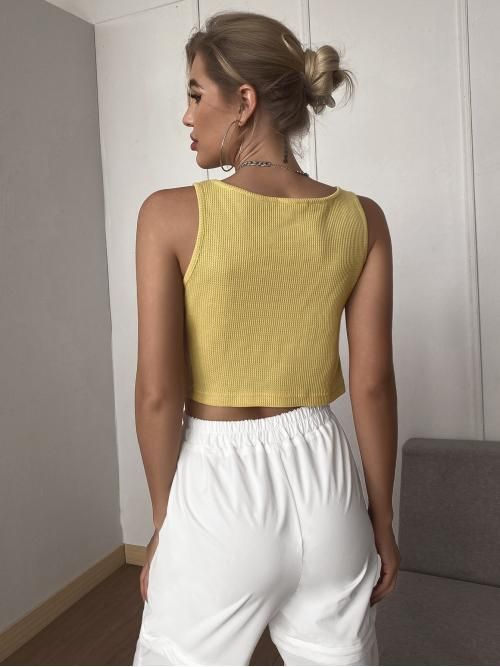 Ladies Tank Twist Polyester Plain Front Waffle Knit Top