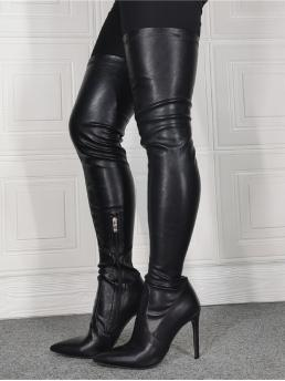 Black Stretch Boots High Heel Stiletto Halloween Side Zip over the Knee Heeled Boots on Sale