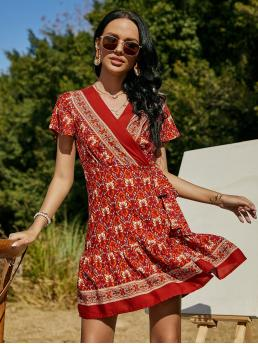 Red all over Print Knot V Neck Floral Print Side Surplice Front Dress Cheap