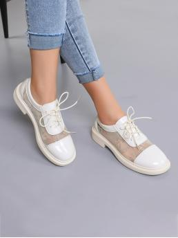 Ladies Beige Oxfords Round Toe Pu Leather Patent Leather Sheer Mesh Oxford Shoes
