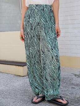 Green High Waist Pleated Wide Leg Pants Affordable