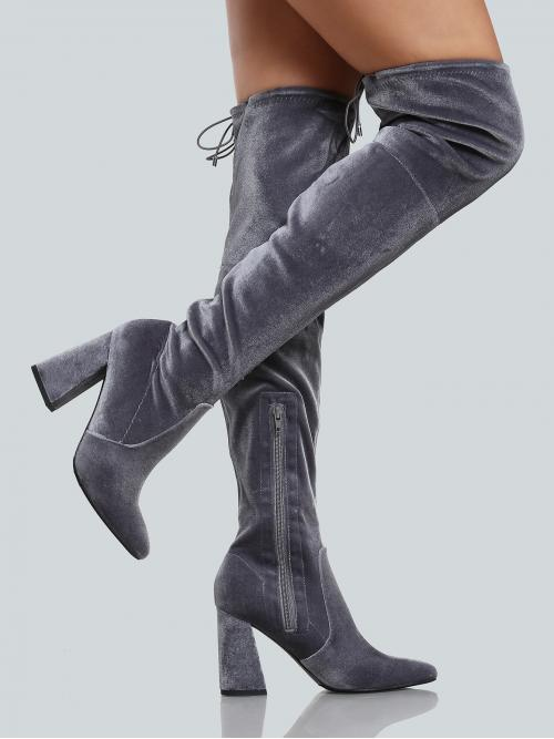 Polyester Grey Stretch Boots Studded Faux Pointy Toe Back Thigh High Boots Fashion