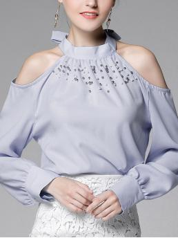 Long Sleeve Top Pearls Velvet Faux Pearl Beading Tie Neck Open Shoulder Shirt Clearance