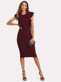 Elegant Bodycon Plain Slim Fit Round Neck Cap Sleeve Natural Burgundy Midi Length Ruffle Trim Pencil Dress