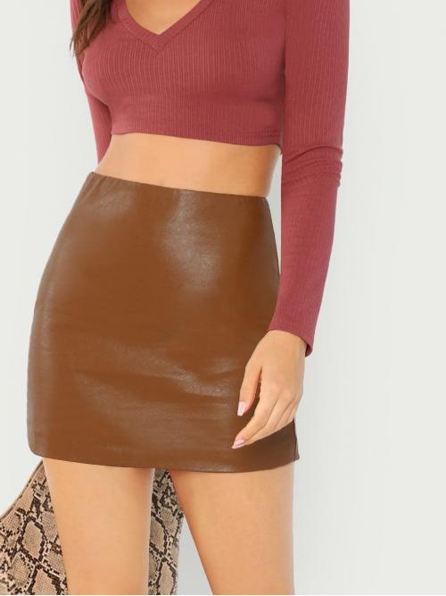 Fashion Brown Natural Waist Zipper Bodycon Zip up Back Pu