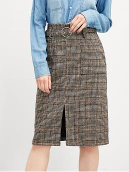 Pretty Multicolor High Waist Belted Pencil Split Front Skirt