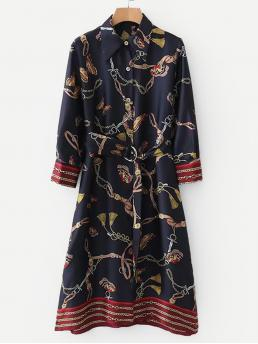 Casual Shirt Chain Print Straight Loose Collar Long Sleeve Natural Navy Midi Length Chain Print Ring Belted Shirt Dress with Belt