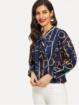 Casual Top Regular Fit Stand Collar Long Sleeve Pullovers Navy Regular Length Tie Neck Chain Print Blouse