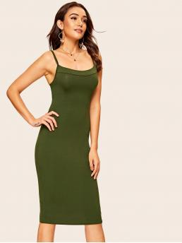 Sexy Cami Plain Spaghetti Strap Sleeveless Natural Army Green Midi Length Open Back Buckle Bodycon Slip Dress
