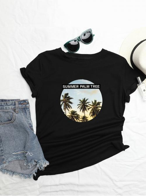 Casual Tropical Regular Fit Round Neck Cap Sleeve Pullovers Black Regular Length Tropical Print Tee