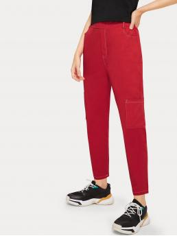 Casual Plain Tapered/Carrot Regular Elastic Waist Mid Waist Red Cropped Length Solid Pocket Detail Pants