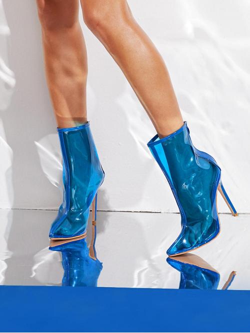 Glamorous Other Back zipper Blue High Heel Stiletto Point Toe PVC Zip Back Stiletto Heels