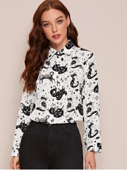 Beautiful Long Sleeve Shirt Button Front Polyester Cat Graphic Button up Blouse