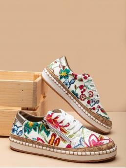 Red and White Skate Shoes Round Toe Low-top Zip Side Flower Pattern Sneakers Fashion