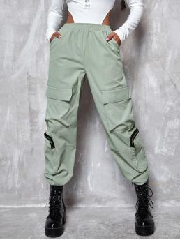 Womens Mint Green High Waist Zipper Cargo Pants Flap Pocket Zip Detail Cargo Pants