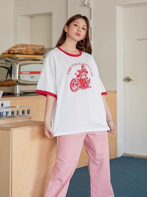 Womens Half Sleeve Contrast Binding Cotton Slogan Motorcycle and Graphic Ringer Tee
