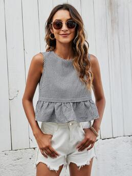 Discount Tank Button Polyester Gingham Top