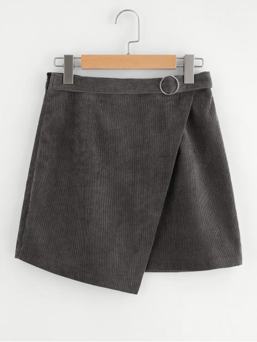 Grey Natural Waist Belted Asymmetrical O-ring Belt Detail Cord Wrap on Sale