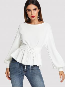 Elegant Plain Pleated Top Regular Fit Boat Neck Long Sleeve Bishop Sleeve White Regular Length Lantern Sleeve Top with Corset Belt with Belt