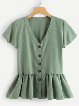 Womens Short Sleeve Peplum Button Chiffon through Tea Top