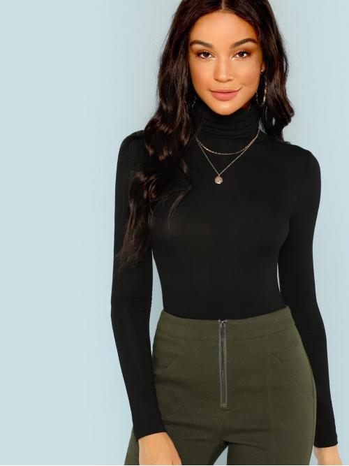 Womens Long Sleeve Plain Black High Neck Solid Form-fitting Turtleneck Top