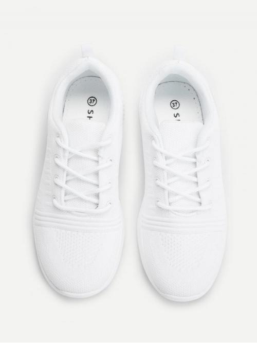Corduroy White Running Shoes Chain Knitted Low Top Sneakers Discount
