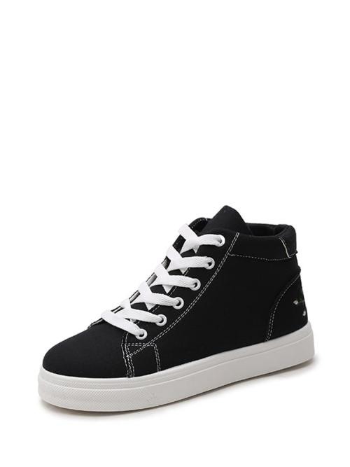 Cheap Corduroy Black Skate Shoes Contrast Sequin Embroidered Detail Sneakers